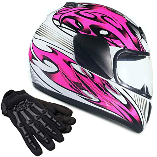Typhoon Youth Kids Full Face Helmet with Shield & Gloves Combo Motorcycle Street Dirt Bike - Pink (XL)