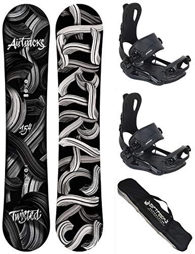 AIRTRACKS Snowboard Set (Paquete Completo) Tabla Twisted Rocker Wide (Hombre)+Fijaciones Master FASTEC+SB Bolsa/Nuevo