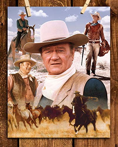 "John Wayne-Western Classics- Collage Poster Art Print- 8 x 10"" Cowboy Wall Print Art- Ready to Frame. Retro Western Home-Office- Garage-Man Cave Décor. Perfect Collectible for John Wayne Fans."