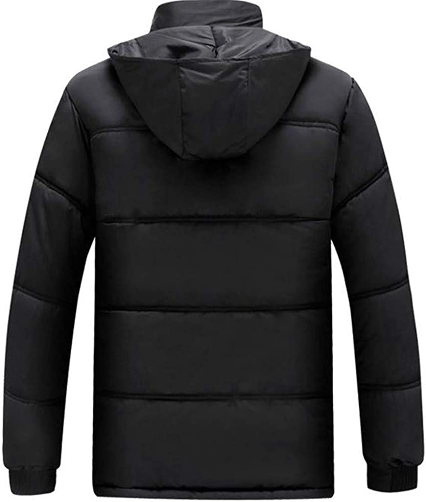 P/&E Men Hooded Quilted Padded Casual Fleece Faux Fur Lined Midi Jacket Parka Coat