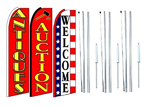 Antiques Auction Welcome King Swooper Feather Flag Sign Kit with Complete Hybrid Pole Set Pack of 3