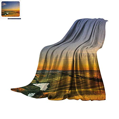 (Italian Throw Blanket Magical Photo of Mediterranean Rural in The Valley with a Small Lake Nature Warm Microfiber All Season Blanket for Bed or Couch 80