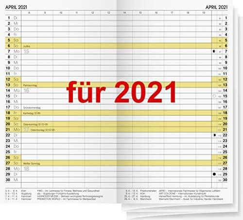Taschenkalender Einlage 2021 1Mo.=2Seiten 9x15cm Ersatzeinlage Faltkalender 746