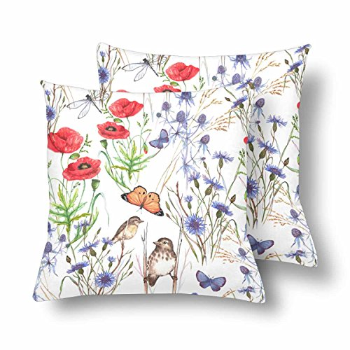 (InterestPrint Floral Summer Meadow Flower Poppy Cornflower Grass Throw Pillow Covers 18x18 Set of 2, Butterfly and Birds White Pillow Cushion Cases Pillowcase for Home Couch Sofa Bedding Decorative)