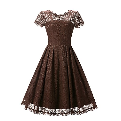 Zecoo Women's Retro Floral Lace Cap Sleeve Vintage Swing Bridesmaid Dress (XXL, Coffee)