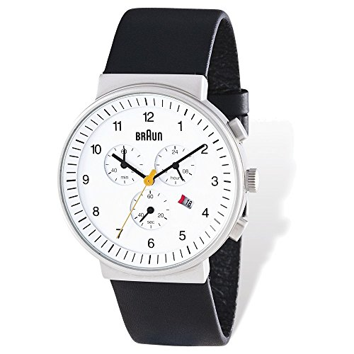 Mens Braun White Dial Black Leather Chronograph Watch