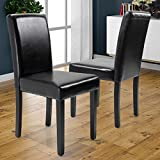 JAXPETY Set of 2 Urban Style Leather Dining Chairs With Solid Wood Legs Chair Black