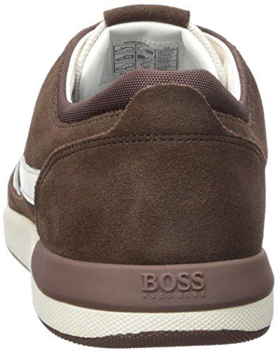 Hugo Boss Mens Stilte Suède Mesh Sneaker Medium Bruin