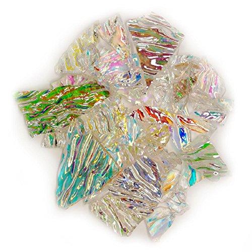 1/4 Lb Premium Dichroic Scrap Glass On Uroboros Clear Herringbone Ripple - 90 - Ripple Glass Stained