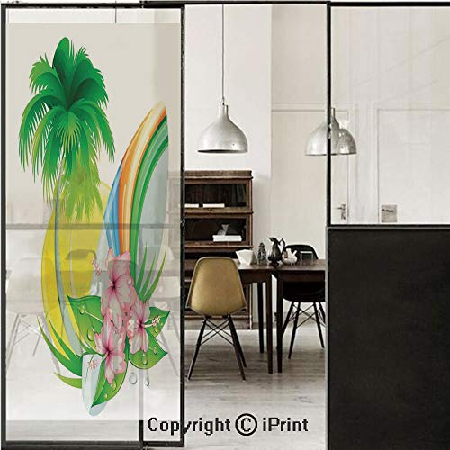 Surf 3D Decorative Film Privacy Window Film No Glue,Frosted Film Decorative,Illustration of Funky Summer Insignia with Palms and Surfboard Tidal Bore Print,for Home&Office,23.6x59Inch Green Yellow Pin