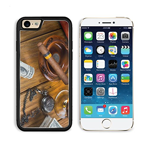 Apple iPhone 6 6S Aluminum Case Relaxing cuban cigar after hard day with glass of Rum IMAGE 35318692 by MSD Customized Premium Deluxe Pu Leather generation Accessories HD Wifi Luxury Protector