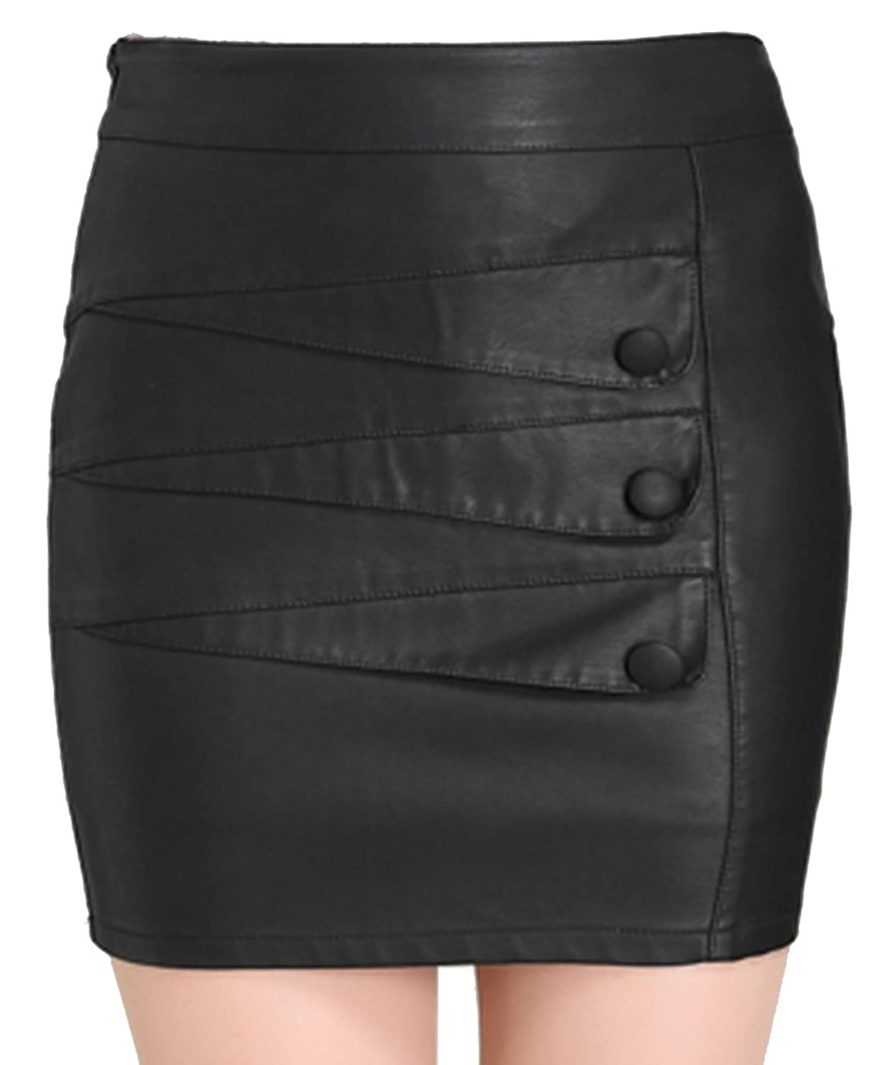Helan Women's Office Lady PU Leather Buttons Decorated Skirt