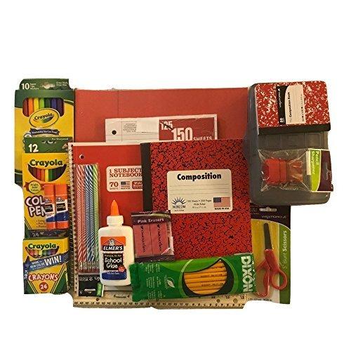 Regreso a la escuela suministros Bundle–Rojo Composición de mármol, Loose Leaf, carpetas, Caja de lápiz, lápices,...