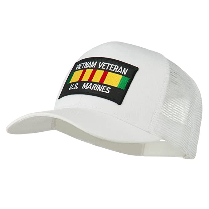 a627cea5d E4hats US Marines Vietnam Veteran Patched Mesh Cap - White OSFM at ...