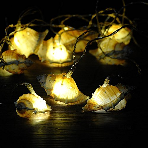 LED Natural String Lights, IMPRESS LIFE Ocean Real Conch Themed Series Flexible 10 ft 10 LEDs for Indoor, Covered Outdoor, Birthday, Wedding, Sun Beach, Summer Holiday, Parties & Home Decorating (Outdoor Party Decorating Ideas)