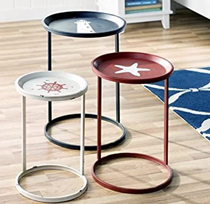 Nautical Table Set 3 Piece Nesting Accent Side Tables Coastal Living Room  Decor Indoor/Outdoor