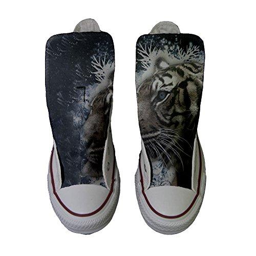 Converse Customized Chaussures Coutume (produit artisanal) Tiger aux yeux bleus