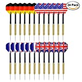 Ohuhu Tip Darts with National Flag Flights Stainless Steel Needle Tip Dart with Extra PVC Dart Rods, 24 Pack