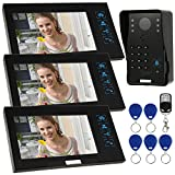 KKmoon Door Phone System Record/Snapshot Visual Intercom Doorbell with Indoor Monitor Outdoor Camera TF Card support Touch Button Unlock Infrared Night View Rainproof Lock Time Delay Adjustable Angles