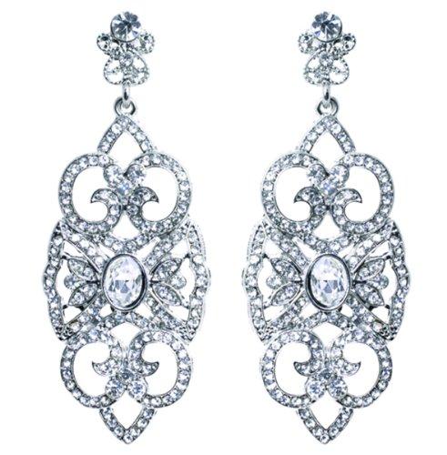 Retro Vintage Estate Jewelry (Traditional Estate Look Chandelier Crystal Earring - Formal Wedding Jewelry)