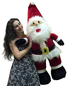 Lifesize Giant Stuffed Santa Claus - Large 4-feet-tall 48-inches-tall Christmas Holiday Giant Stuffed Animal Santa Claus Plush Toy - Perfect Gift and Perfect Display for Home or Business - Made in the USA America