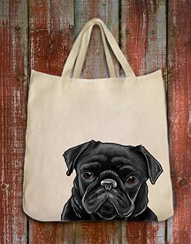 Black Pug Dog Portrait Color Design Extra Large Eco Friendly Reusable Cotton Twill Grocery Shopping Tote Bag