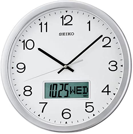 Seiko QXL007S - Reloj Digital y analógico de Pared de Cuarzo: Amazon.es: Relojes