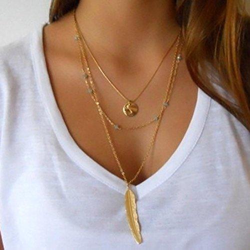 greatfun Mujeres Moda de revestimiento múltiple irregular cadena de oro colgante Declaración Collar Suéter Cadena
