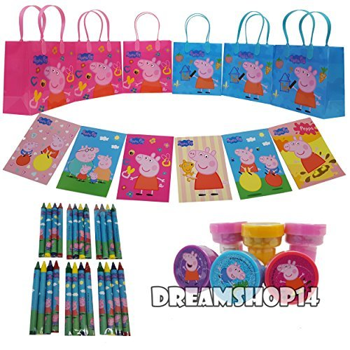 Dreamshop14 Peppa Pig Goody Bag with Coloring Book, 42 Pieces