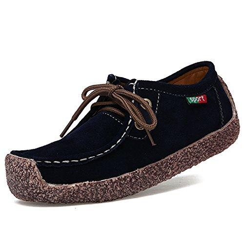 Odema Femmes Confortable En Cuir Véritable Plat Chaussures Casual Lace Up Espadrilles De Marche Noir