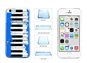 Blue into Piano Keys Music Is The Key To My to Heart Clear Plastic Phone Case Back Cover Apple from iPhone 6 Plus (5.5 Inches) few Kimberly Kurzendoerfer