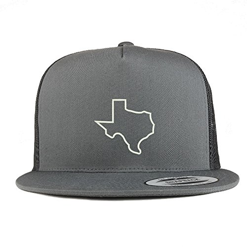 Trendy Apparel Shop Texas State Outline Embroidered 5 Panel Flat Bill Trucker Mesh Back Cap - Charcoal