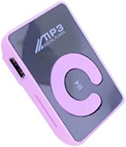 Bemodified Mini Mirror Clip MP3 Player Portable Fashion Sport USB Digital Music Player Micro SD TF Card Media Player - Pink