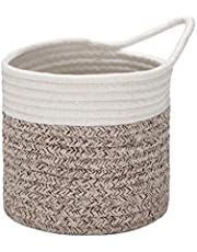 Sea Team 2-Pack Hanging Cotton Rope Baskets, 6.5 Inches Small Woven Storage Basket, Bike Hang Bag, Fabric Planter, Pot, Wall, Door Organizer for Keys, Wallets, Sunglasses