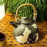 ExclusiveLane Studio Pottery Tea Splatters Ceramic Kettle With Cane Handle -Coffee Pots Tea Pots