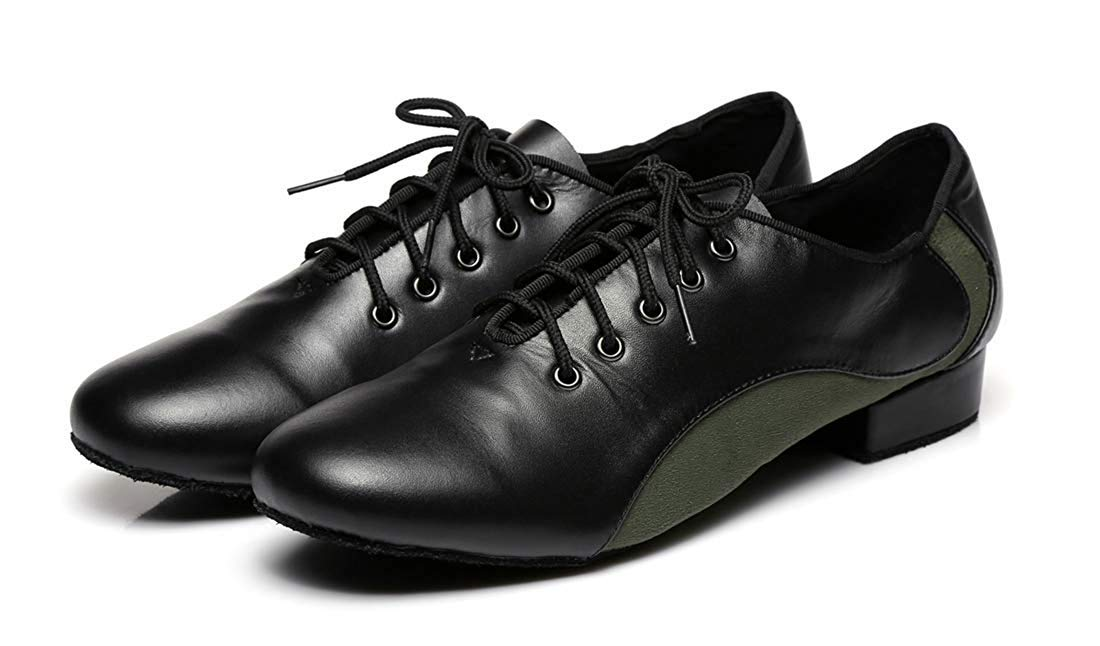 Herren Schnürschuhe 1 Standard Heel Leder Wildleder Ballroom Ballroom Ballroom Latin Dance Schuhe (Farbe   Blakc Grün, Größe   9 UK) 0ebd70