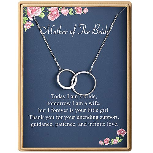 Mother of The Bride Gift Necklace S925 Sterling Silver Two Interlocking Infinity Double Circles Mother's Day Necklace For Women (Best Mother Of The Bride Gifts)