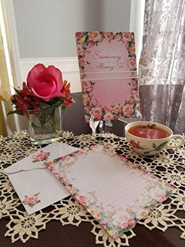 Embossed Writing Paper Set- Roses in Bloom Design from Carol Wilson Fine Arts Inc.