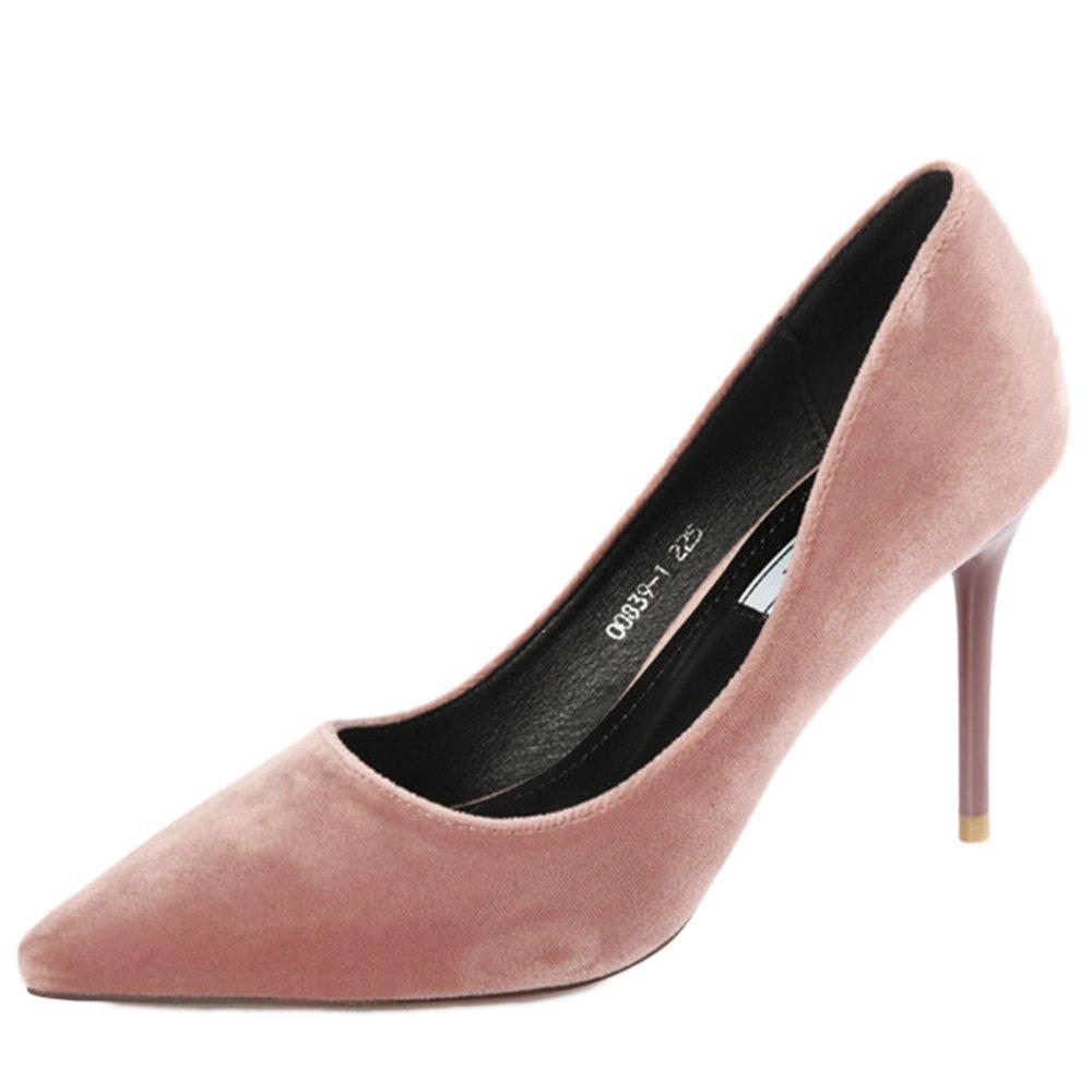 cy Damen Pumps Damen Slip Auf Stiletto Party Office Work Court Schuhe Flache Wildleder Sandalen - Größen  EU:34/UK:2|Pink