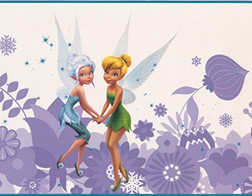Disney Fairies Tinker Bell Fawn Iridessa Rosetta Silvermist Periwinkle Purple White Wallpaper Border for Kids Bedroom Playroom Living Room, Roll 15' x 9
