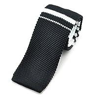 "PenSee Casual Mens Black & White Stripe Slim 2.16"" Skinny Knit Tie"