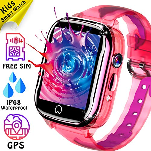 Kids Smart Watch GPS Tracker - [SIM Card Included] IP68 Waterproof Phone Smartwatch for Boy Girl with Two-Way Call SOS Games Camera Kid Wrist Watch for Outdoor Sport Camping Travel for Birthday Gift ()