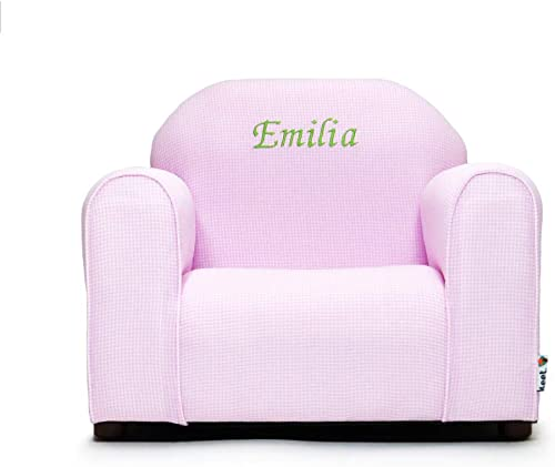 Upholstered Personalized Kids Chair Checkers Pink