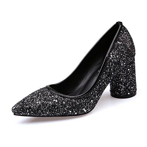 The Schuhe Frauen yalanshop Trendy mit 38 hochhackigen anni scheint wies Fett schwarz Licht dCqnt4n