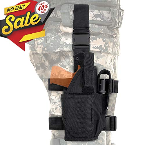(Tactical Drop Leg Holster, Adjustable Gun Holster Thigh Pistol Holster with Magazine Pouches for Right Handed, Black)