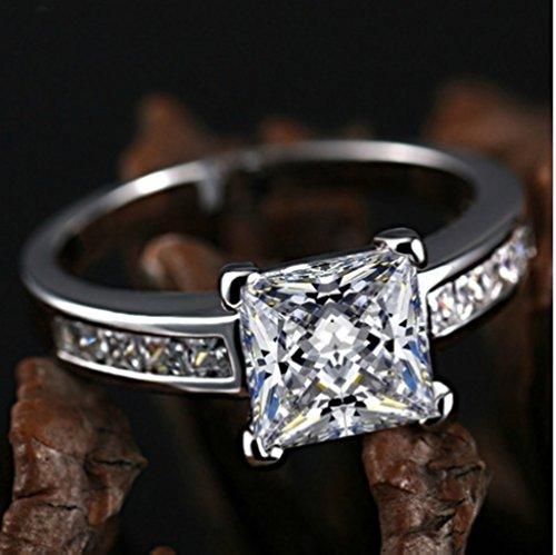 18k White Gold Gp Swarovski Crystal AAA Zircon Square Lady Bridal Wedding Engagement Ring R26 (7)