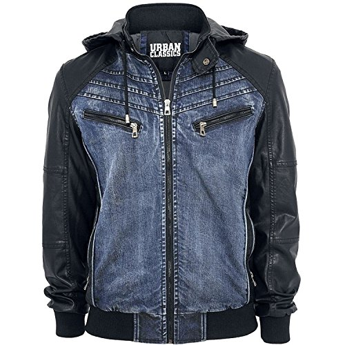 Mens Urban Classic Denim Hoodie Bomber Leather Jacket (XX-Large, Black & Blue) Classic Mens Leather Bomber Jackets