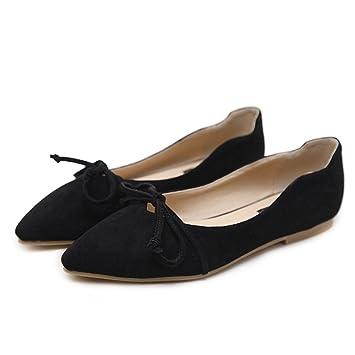 LJO Damen Sandalen Flache Ferse Sommer Spitze Bowknot Mode Flacher Mund Schuhe