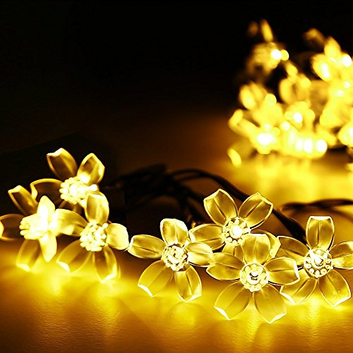 22' Holiday Christmas Wreath (Lightspot Solar Waterproof String Lights 50 LED 7M/22Ft Cherry Blossom Flower Garden Christmas Lights for Outdoor Indoor Party Wedding Patio Holiday Decorations (Warm White))