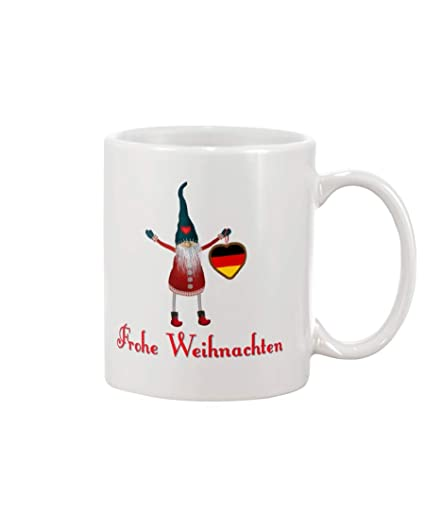 Top Ten Weihnachtsessen.Amazon Com Cute German Elf Frohe Weihnachten White Mug Unique